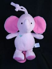 Carters Pink Musical Elephant Crib Toy Pink Plastic Heart Shaped Pull 2015