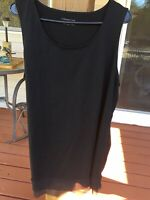 Coldwater Creek Lace Bottom Black Stretch Tank Top Shirt Womens 2X Plus Superb