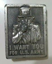 Vintage 1975 Bergamont Uncle Sam I Want You For U.S. Army Belt Buckle Military