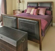 Exquisite Queen Bed Frame in Faux Leather & Solid Cherry Wood