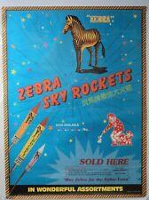 Vintage ZEBRA Firecracker poster Bottle Rocket Advertisement RARE Firework Mint