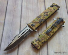 TACFORCE JUNGLE CAMO SPRING ASSISTED TACTICAL RESCUE KNIFE WITH POCKET CLIP