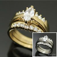2 Pcs Women Stainless Steel Gold/Silver 1.65 CT CZ Engagement Wedding Ring*R59