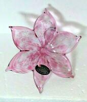 Murano Hand blown Art Glass Lily Flower Swirled Stem Pink With Silver Flecks
