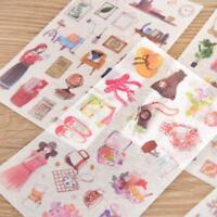 6 sheet Korean Girl Cute PVC Scrapbooking Diary Deco Transparent Stickers Kawaii