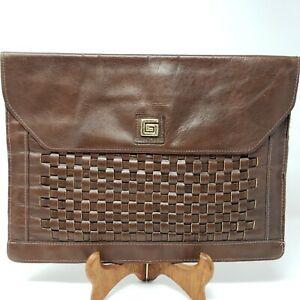 Vintage Leather Large Leather Basket Weave Envelope Brown Clutch