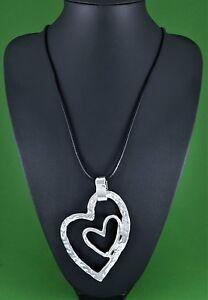 "Black Cord Beaten Silver Curvy Twin Hearts Pendant Long Lagenlook Necklace 31.5"""