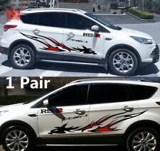 2pcs Viny Car Vehicle SUV Side Sticker Film Decal Black Red Dragon Totem+ Letter