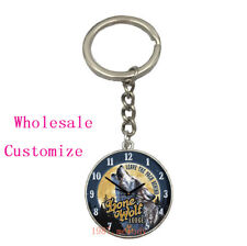 Vintage Glass Cabochon Fashion silver Car Key chain ring pendant(wolf clock)