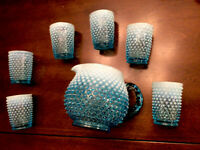 Fenton Blue/white Opalescent Hobnail Juice Set Pitcher + 6 Glasses