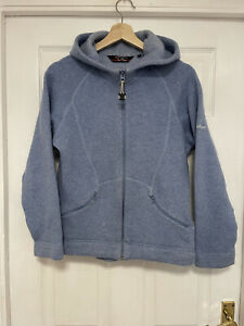 BERGHAUS Ladies Blue Wool Blend Hoodie Jacket Size 14