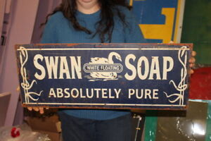 """Vintage Swan Floating White Soap Absolutely Pure Gas Oil 27"""" Metal Sign"""