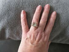 PRASIOLITE LARGE SOLITAIRE RING-SIZE M-4.470CTS-STERLING SILVER 925