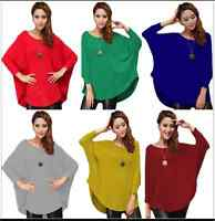 Stylish Womens Loose Batwing Crew Neck Quality Knitted Top / Jumper /Oversize