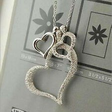 Women Lady New Beauty Three Hearts Sweater Chain Silvery Pendant Long Necklace