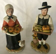 "Homco - ""Rewards of the Harvest"" (#1437-97) - Two Pilgrims - Thanksgiving"