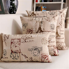 Cotton Linen Pillow Case Vintage Tower Style Throw Sofa Cushion Cover Home Decor