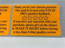 100 Amazon Thank You For Your Purchase Stickers 2 x 3  5 Star Rating Label FB
