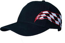 Hat - Black Adjustable Ball Cap with Checkered Flag Sides FREE SHIPPING