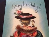 #892🌟Vtg 40s Birthday Greeting Little Girl Dress-Up Poppins M Cooper Rust Craft