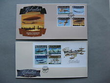 GIBRALTAR, 2x cover FDC 2010, set + S/S 100 years aviation aircraft zeppelin