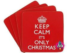 KEEP CALM ITS ONLY XMAS CHRISTMAS SET OF 4 MUG CUP COASTER COASTERS NEW