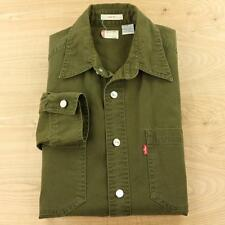 LEVI'S mens LS twill work shirt SMALL faded green metal buttons loose fit denim