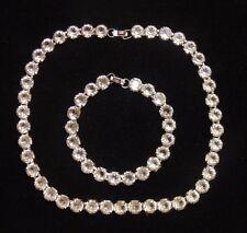 Vintage Art Deco Silver Tone Paste Glass Tennis Row Necklace & Bracelet Set