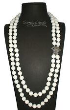 Collana Doppia In Agata Bianca chiusura in argento con Marcassite Made in Italy
