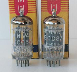 TWO SPLENDID & REAL VINTAGE ECC83 12AX7 PHILIPS MINIWATT B339 E83CC NOS/NIB!