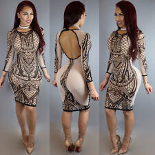 Womens Bandage Bodycon Slim Long Sleeve Evening Party Cocktail Mini Dress S LZF6