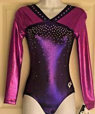 Was $145.99! Gk Elite Purple Foil LgS Gymnastics Leo Swarovski Crystals Adult S