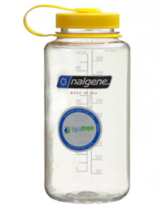 Nalgene 32 oz wide mouth clear bottle with yellow lid