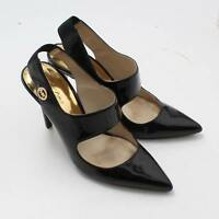 Michael Kors BLK Patent Leather Mary Jane Pointy Toe Slingback Pumps SZ 5.5M GUC