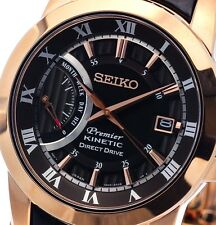 NEW MEN'S ROSE GOLD SEIKO PREMIER KINETIC DIRECT DRIVE POWER RESERVE SRG016P1
