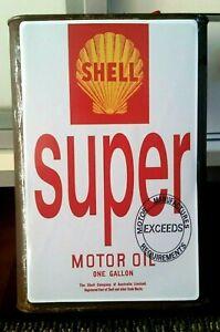 SHELL SUPER MOTOR OIL 1 GALLON CAN Sticker / Decal LABEL (24CM X 15CM)