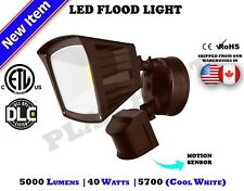 40WT Bronze Motion Sensor Activated ETL DLC LED Flood Outdoor Security Light