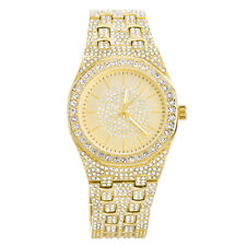 Techno Pave Bling Men's Rapper Gold Plated Iced CZ Metal Band Watches WM 9077 G