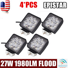 4X 4inch 27W Flood Square LED Work Light Offroad Boat Car Tractor Truck SUV ATV