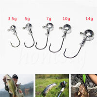 10pcs Jig Round Heads Fishing with Barb Eagle Claw Hooks Tackle All Sizes