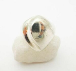 925 Sterling Silver Modernist Polished Fluted Heart Dome Ring Size 8