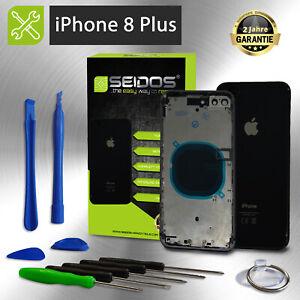 Backcover für iPhone 8 Plus Schwarz Gehäuse Rückseite Rahmen Glas Frame Housing