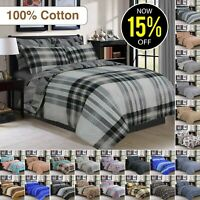 100% Egyptian Cotton 4PCs Duvet Cover Single Double King Quilt Bedding Cover Set