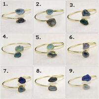 Multi-Color Natural Geode Druzy Quartz Yellow Gold Plated Drusy Bangle Bracelets