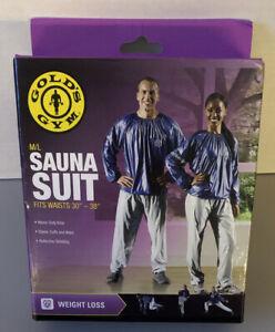 """Golds Gym Sauna Sports Suit Size M/L Blue Top w/ Gray Pants Vinyl Waist 30""""-38"""""""