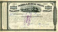 New listing 1874 Peoria & Bureau Valley Rr Stock Certificate