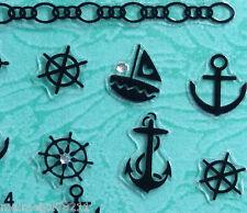 Nail Art 3D Sticker Silver Crystal Black Sail Boat Helm Anchor Chain 26pcs/sheet