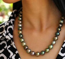 """AAA+ 18"""" 10-11mm Tahitian round multicolor pearl necklace 14k White Gold Clasp"""