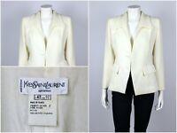 Womens Vintage 80s Yves Saint Laurent Variation Blazer Jacket Milk Size USA 10