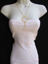 New Women Fashion Gold Classic Ring Metal Body Chain Jewelry Long Necklace Basic